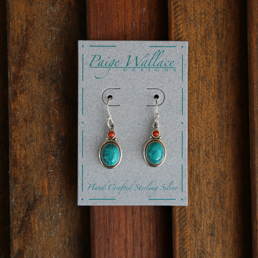 Paige Wallace | Turquoise Coral Sterling Silver Earrings