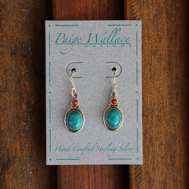 Paige Wallace   Turquoise Coral Earrings