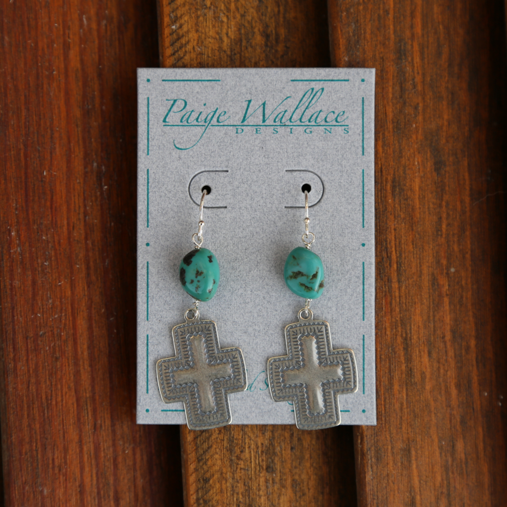 Paige Wallace   Sterling Silver Cross Turquoise Earrings