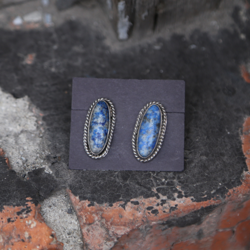 Sterling   Lapis Oval Stud Earrings