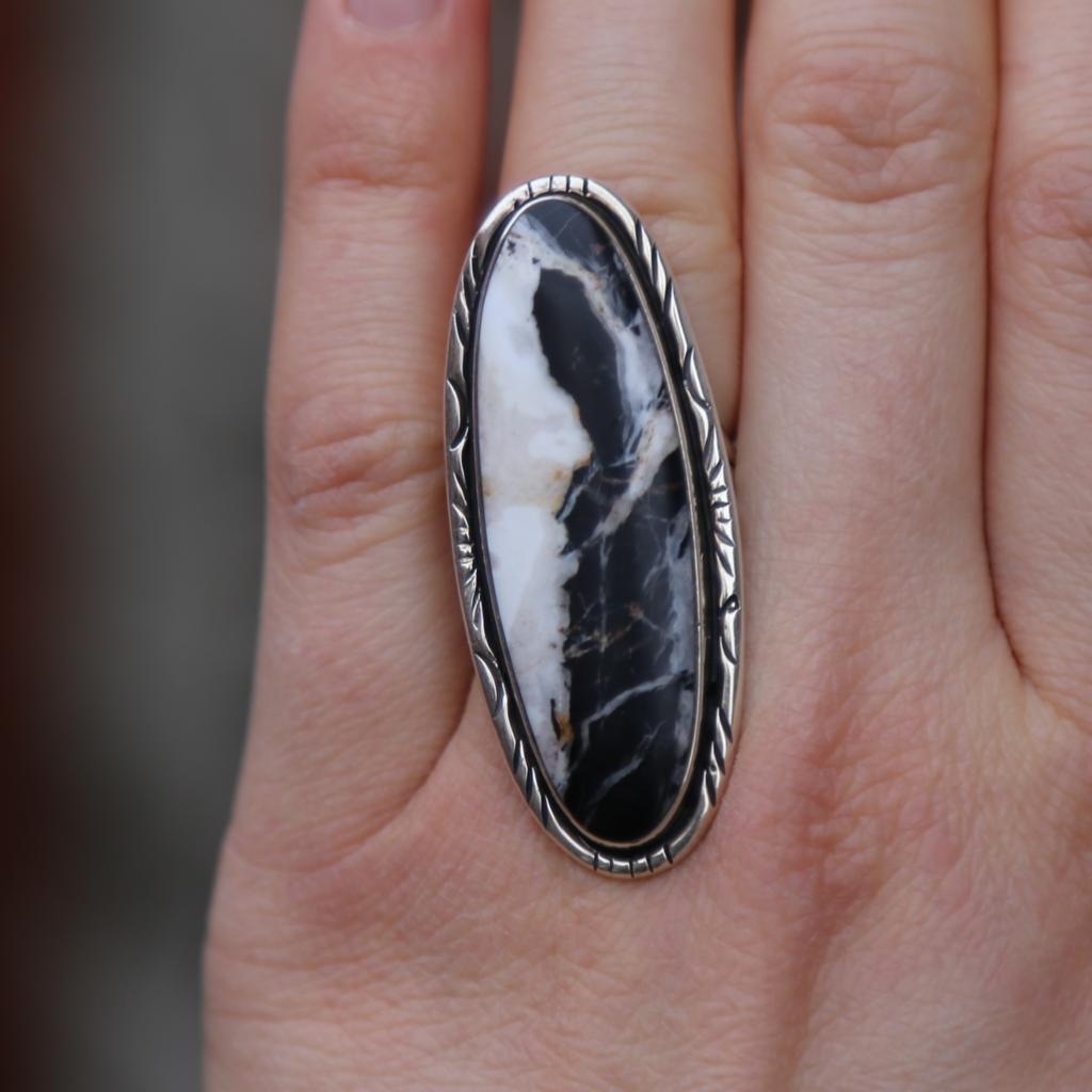 Circle JW Sterling | White Buffalo Ring | Size 7 1/2