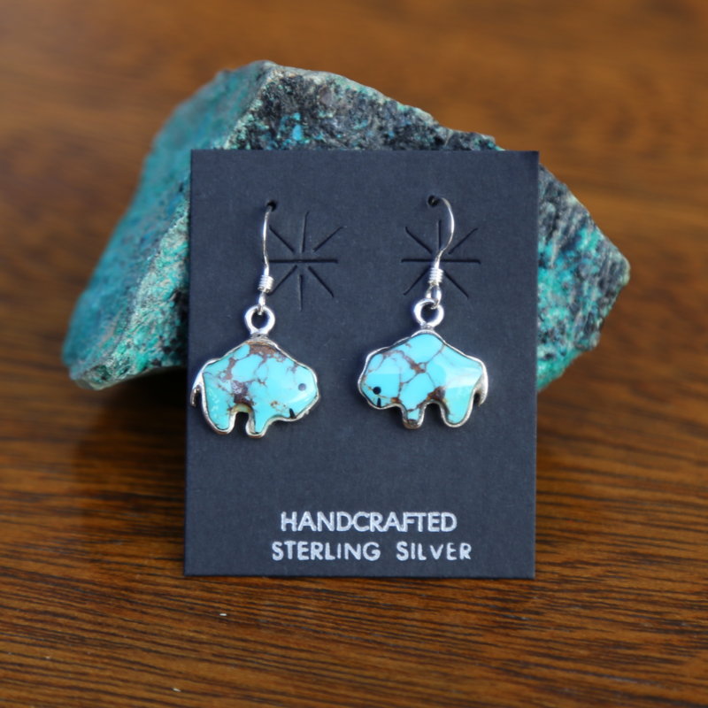 Sterling   Turquoise Bison Dangle Earrings