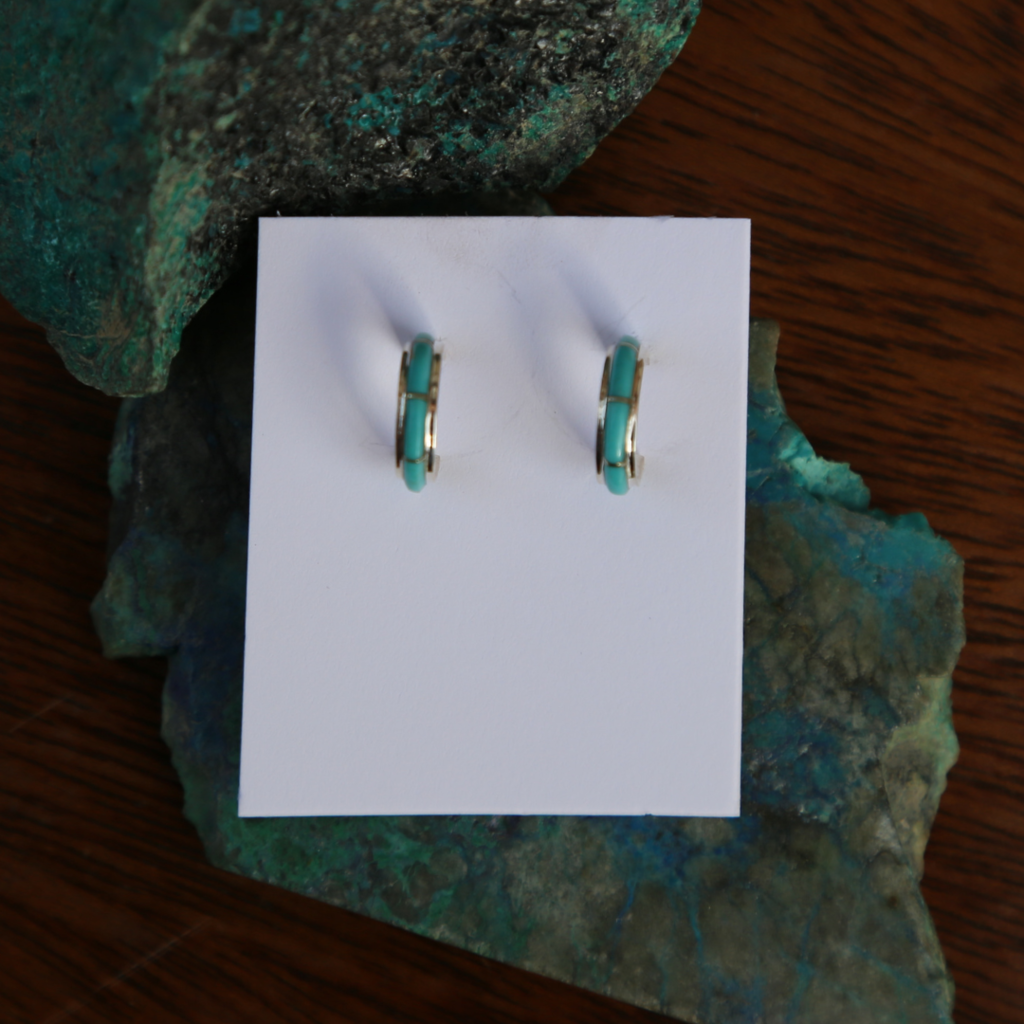 Sterling | Turquoise Hoop Earrings