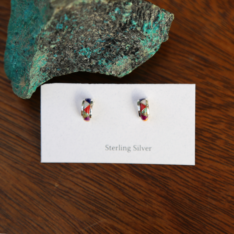 Sterling | Multi Stone Hoop Earrings