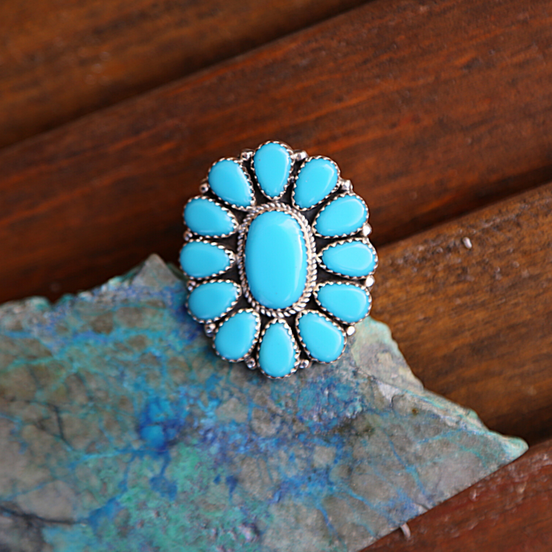 Sterling | Turquoise Floral Ring | Size 9