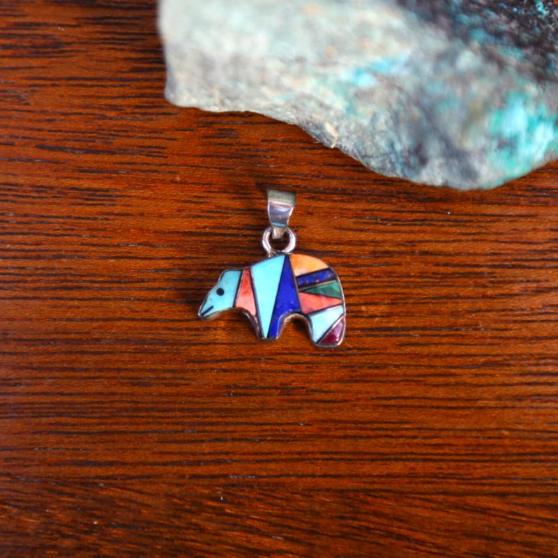 Sterling   Zuni Bear Pendant