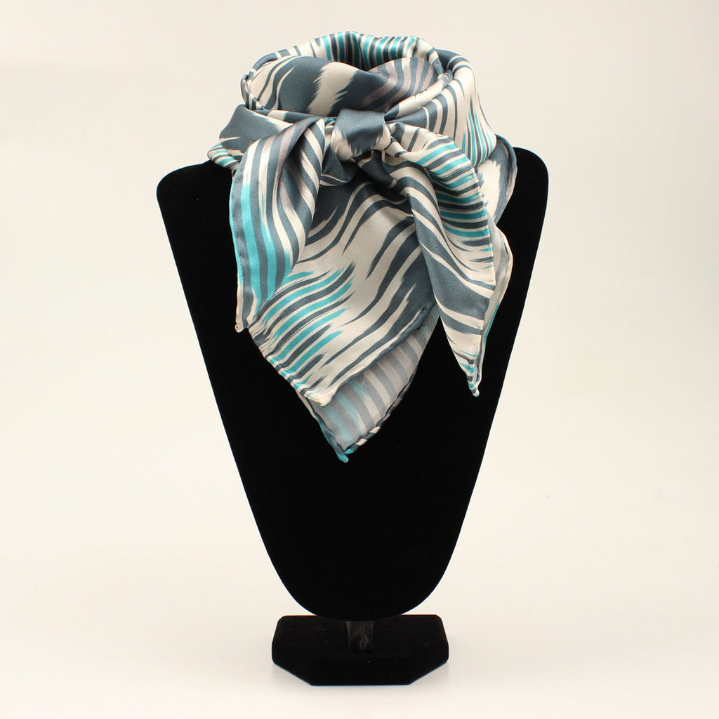 M&F Western | Silk Scarf, Chevron Turquoise