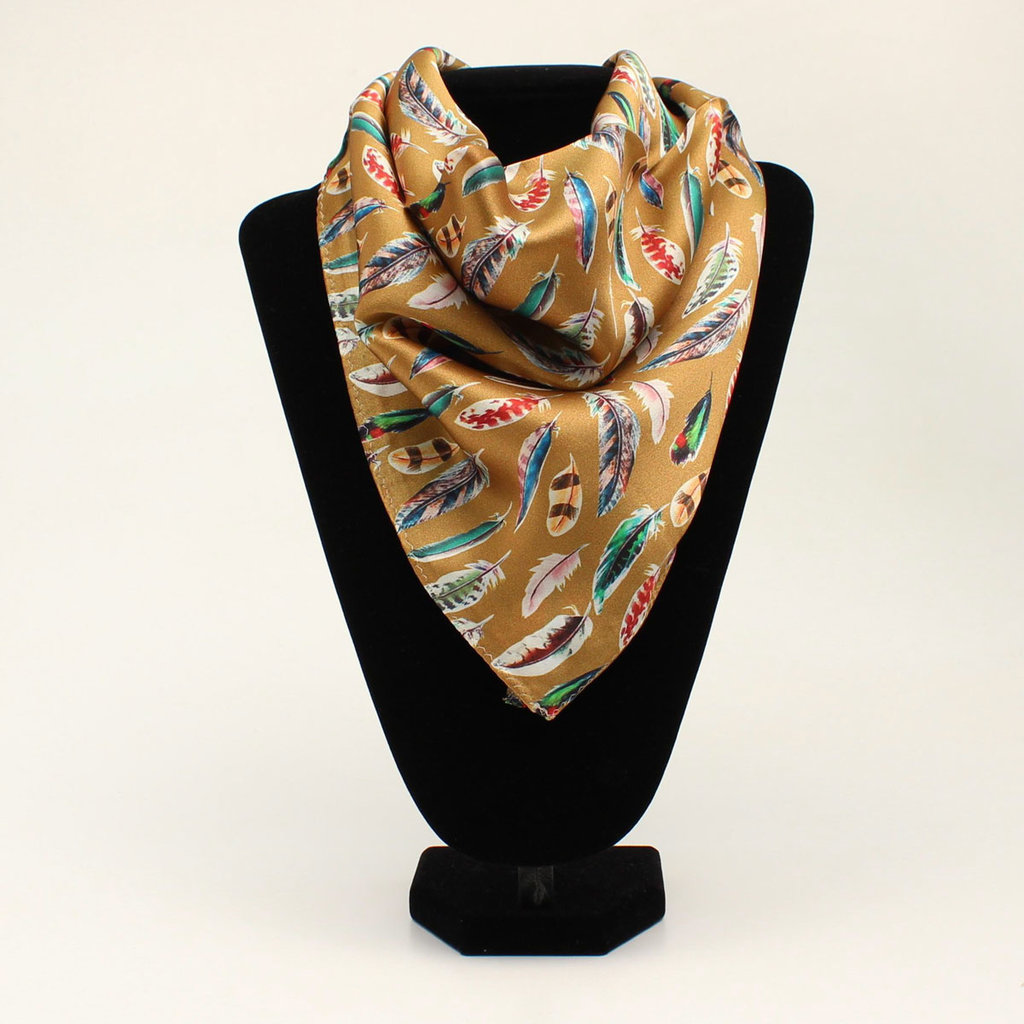 M&F Western | Silk Scarf, Feather Gold