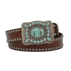 M&F Western | Dark Brown Belt with Turquoise Stones