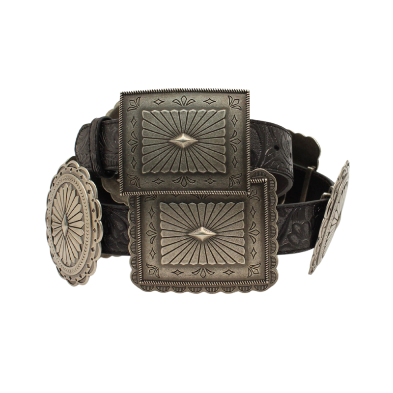 Ariat | Embossed Oval + Rectangle Concho Black Belt