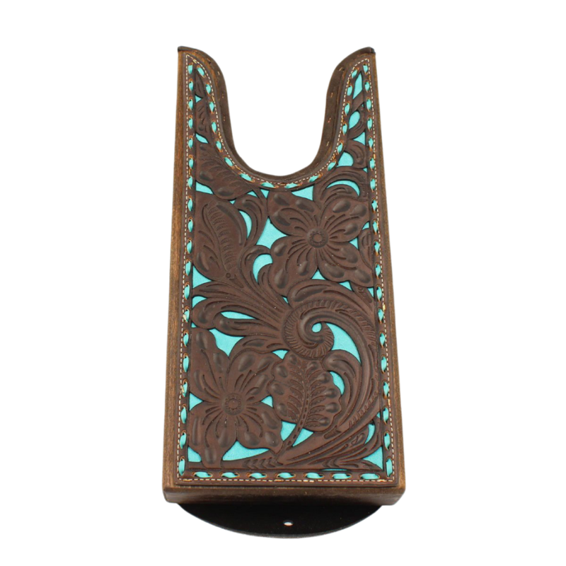 Tooled Leather Boot Jack   Teal
