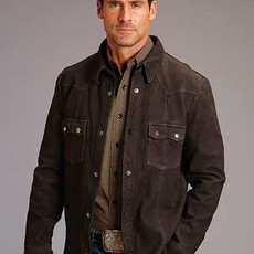 Stetson   Distressed Leather Shirt Jacket
