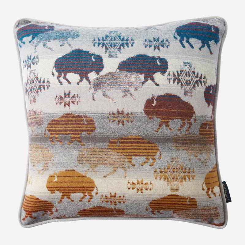Pendleton Pendleton   Jacquard Pillow   18 x 18    Prairie Rush Hour   Grey Buffalo