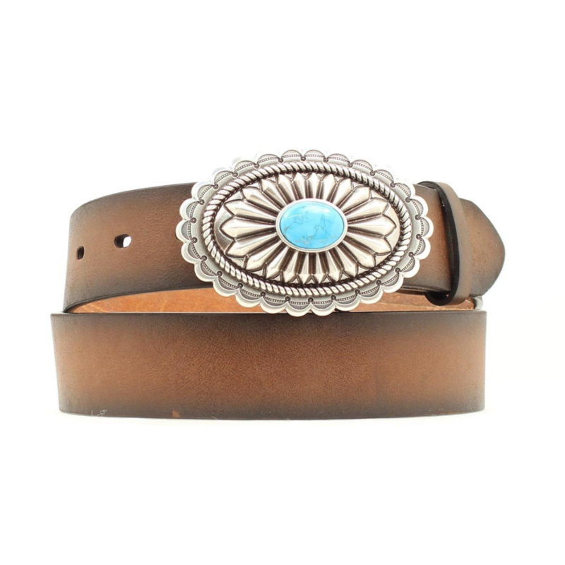 Ariat | Brown Leather Turquoise Belt