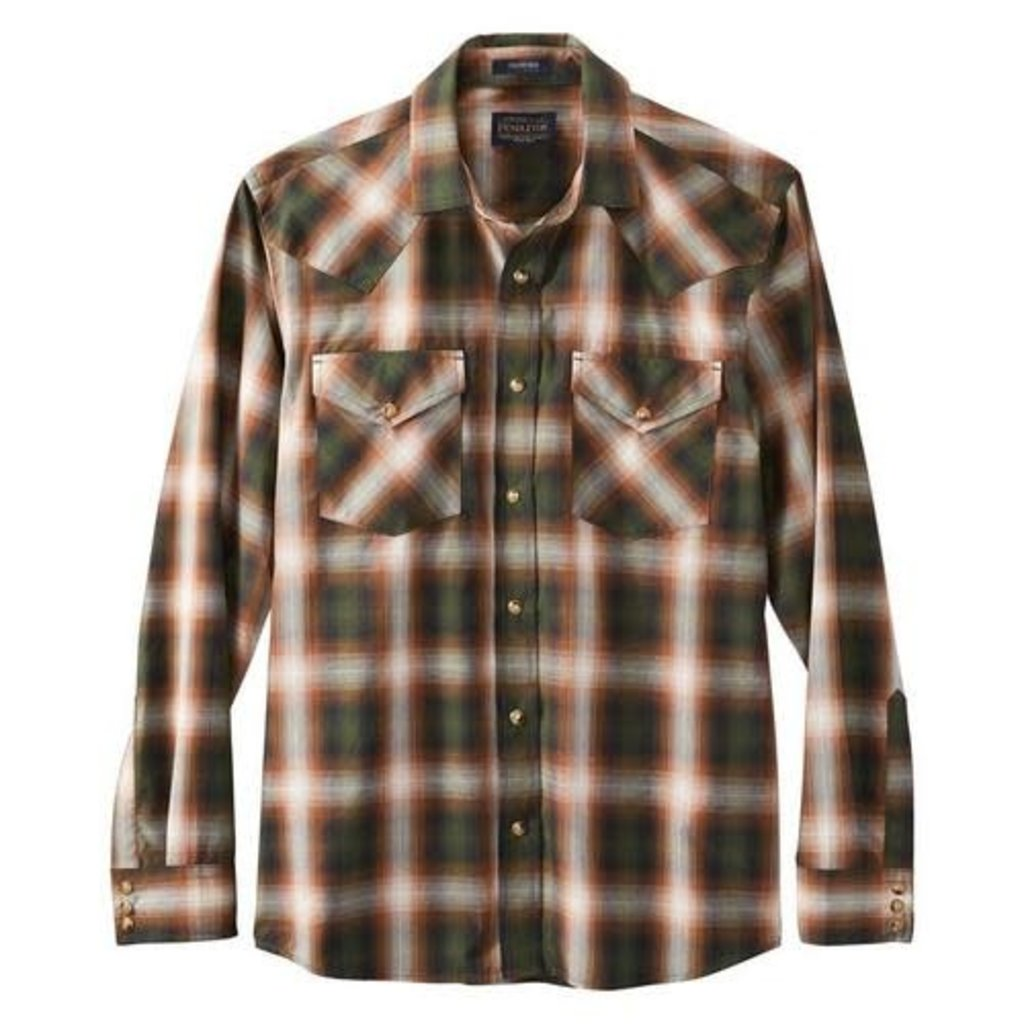 Pendleton Pendleton   Frontier Shirt   Green + Rust Plaid