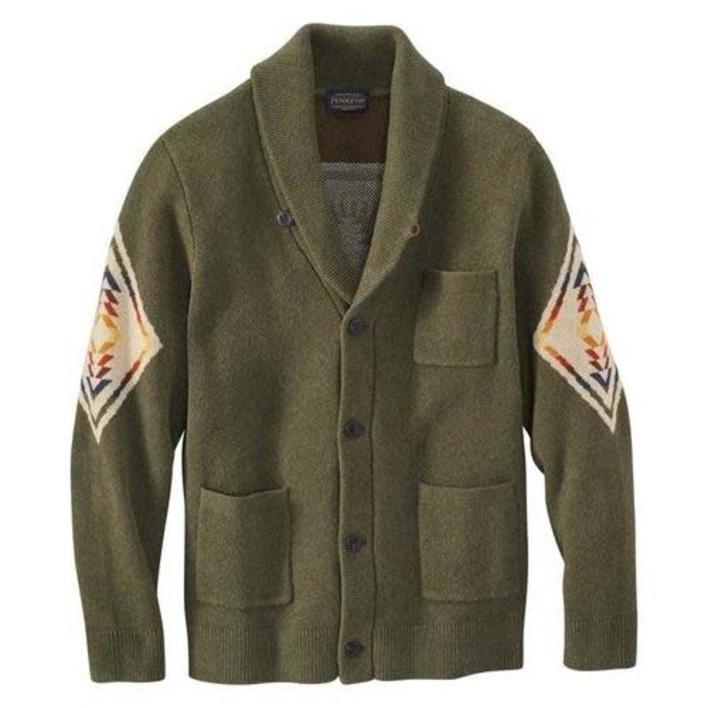 Pendleton Pendleton | Cotton Jacquard Shawl Sweater | Harding | Green
