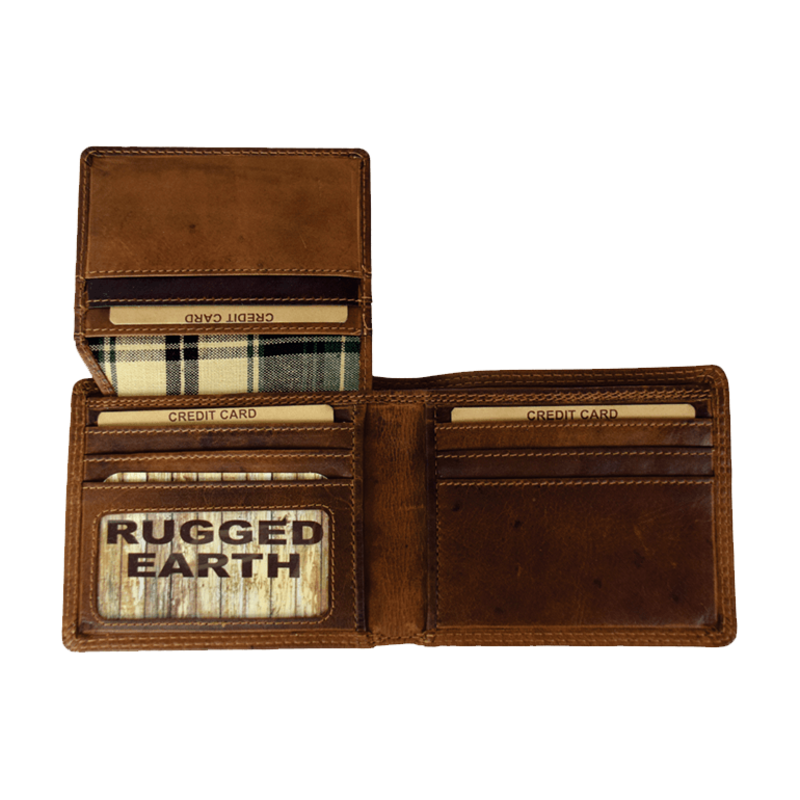 Bifold Leather Wallet   Brown