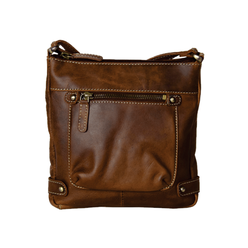 Small Compact Leather Purse   Brown