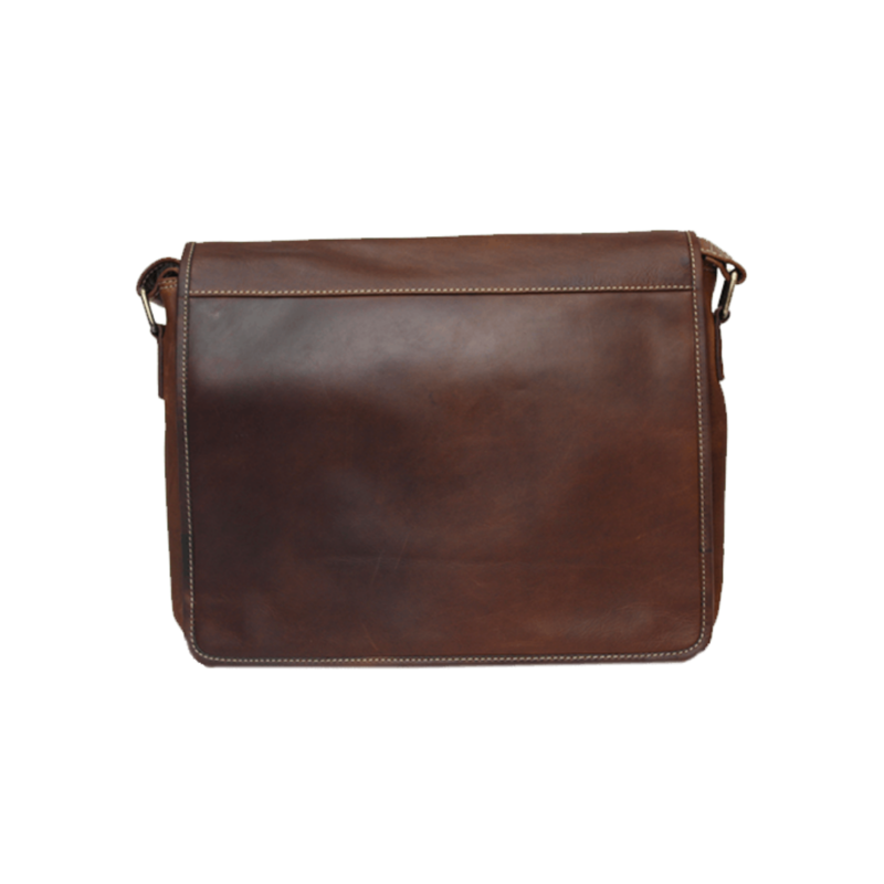 Leather Messenger Bag | Brown