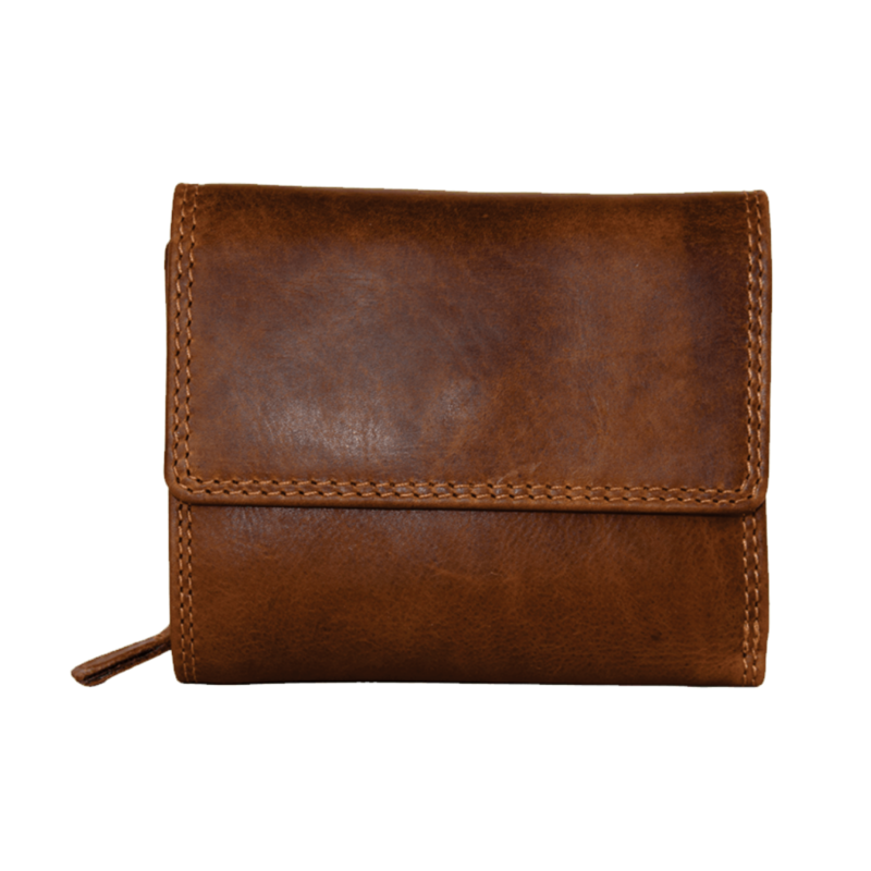 Rugged Earth   Brown Mid Size Leather Wallet