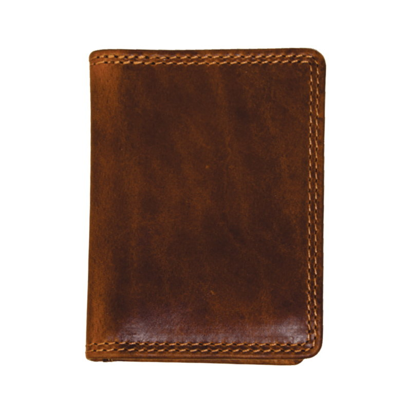 Folding Leather Credit Card Wallet   Brown