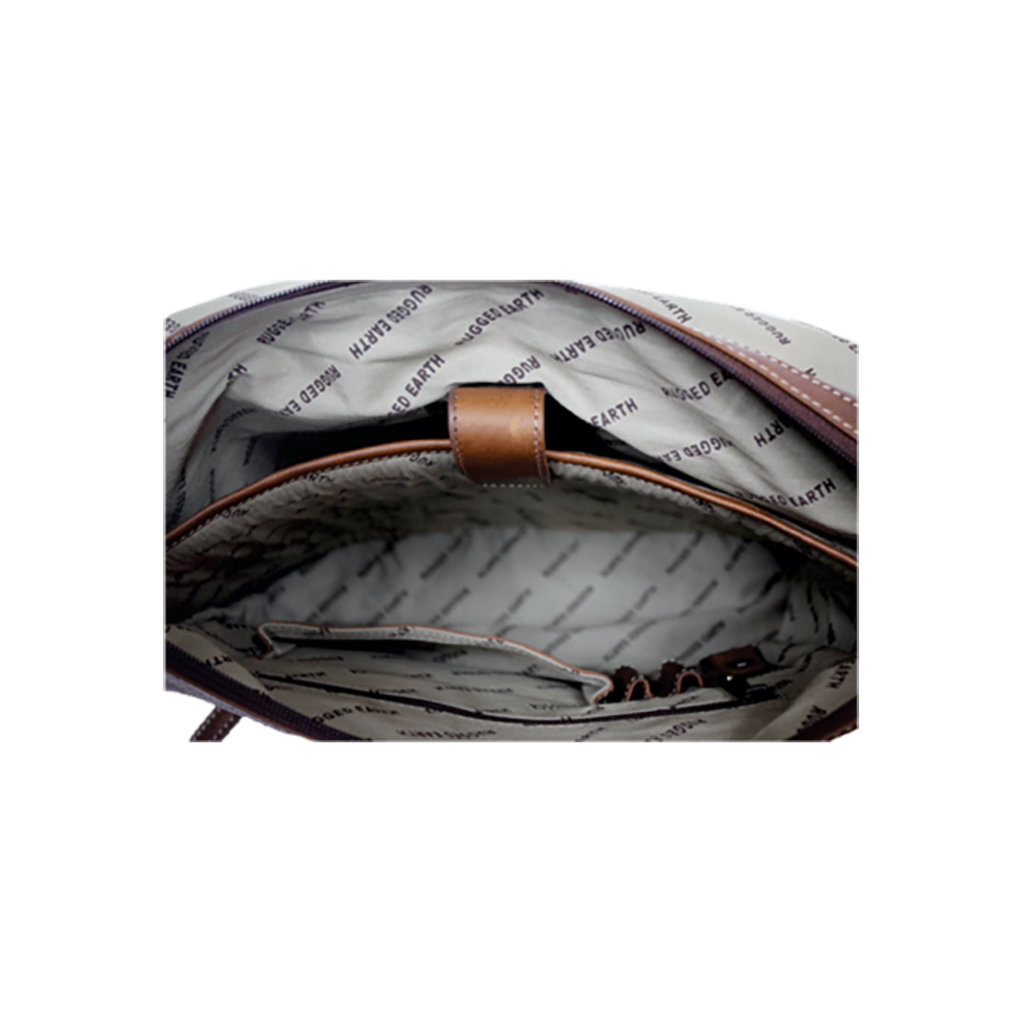 Rugged Earth   Leather Briefcase   Brown