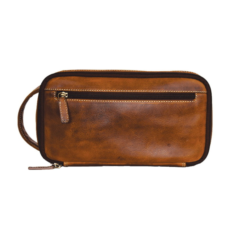 Rugged Earth | Leather Toiletry Bag | Brown