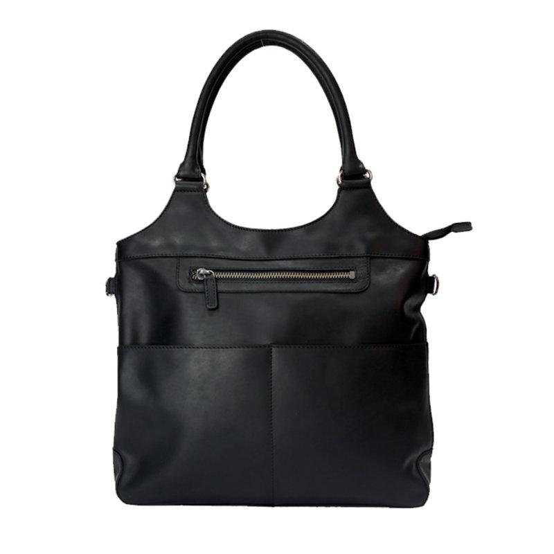 Rugged Earth   Large Black Leather Tote Bag   Black