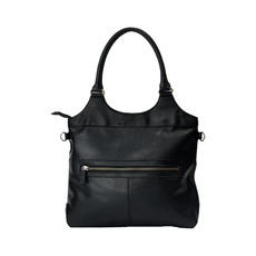 Rugged Earth | Large Black Leather Tote Bag | Black