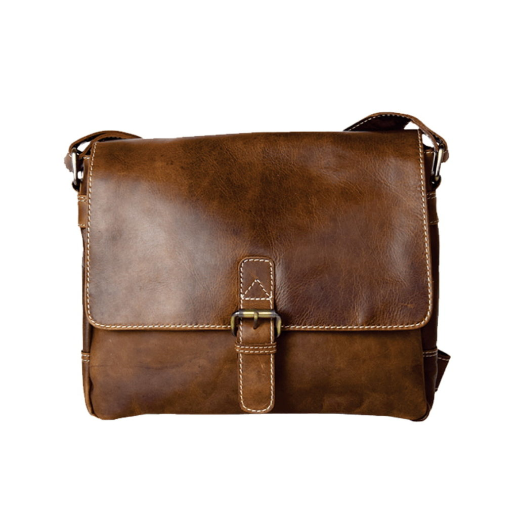 Rugged Earth   Leather Buckle Messenger Bag   Brown