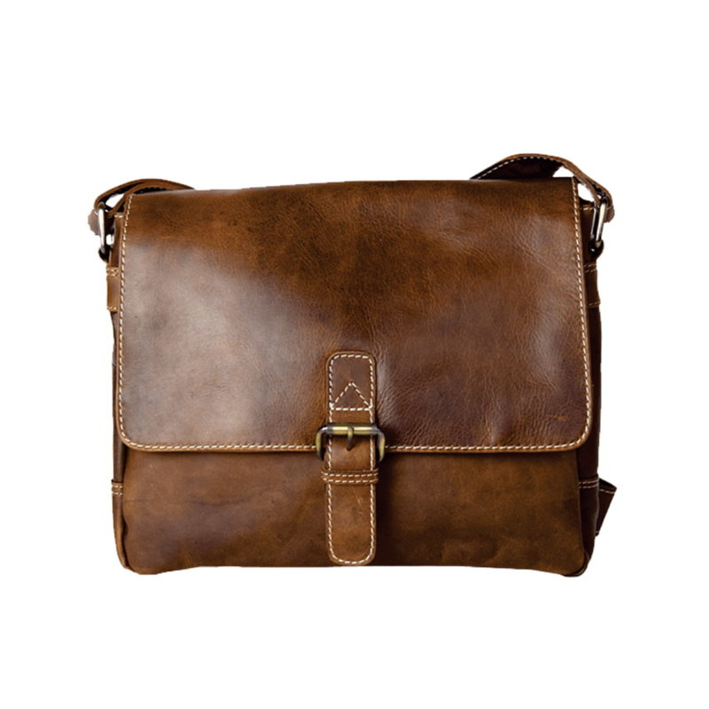Rugged Earth | Leather Buckle Messenger Bag | Brown