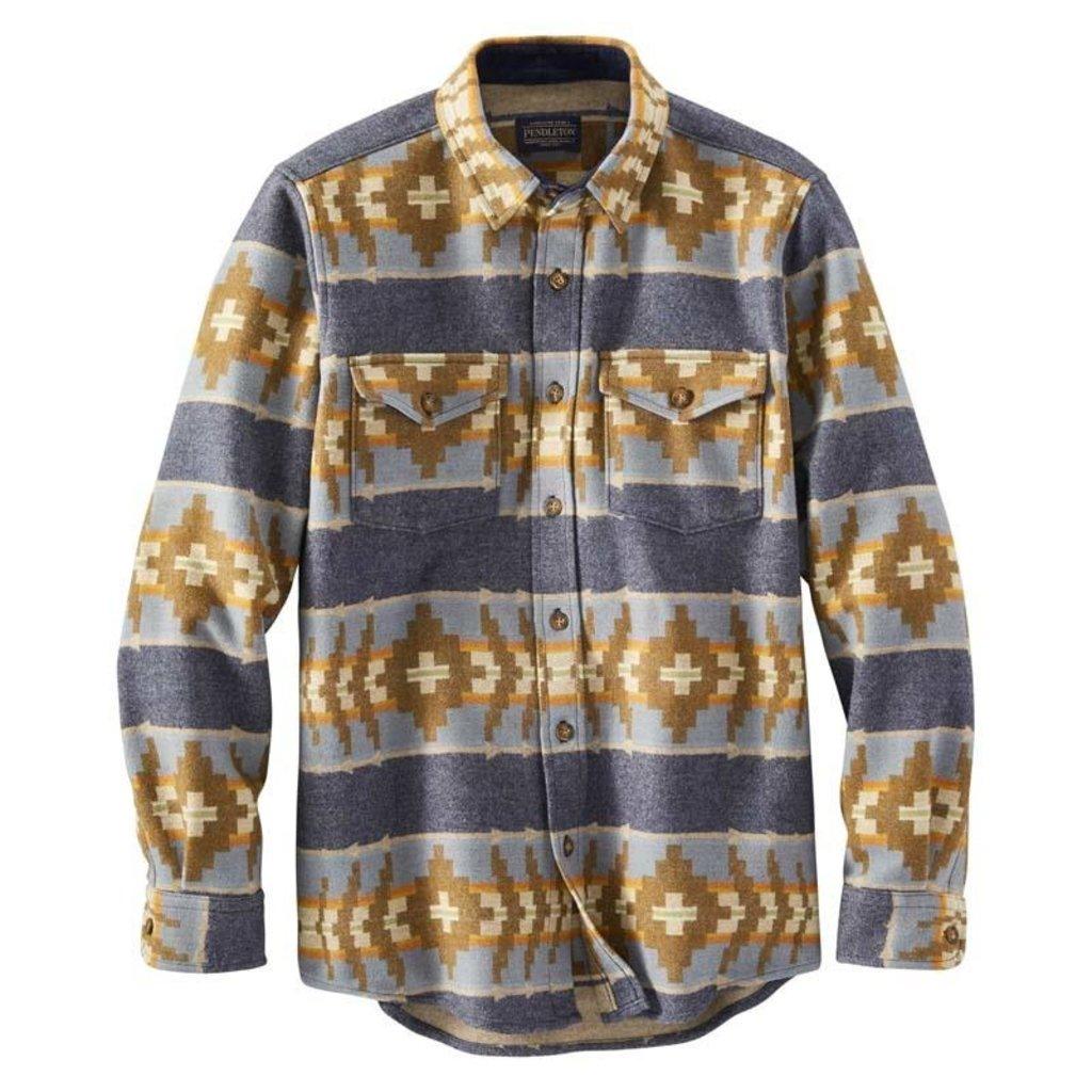 Pendleton La Pine Overshirt in Banded Stripe Navy Mix