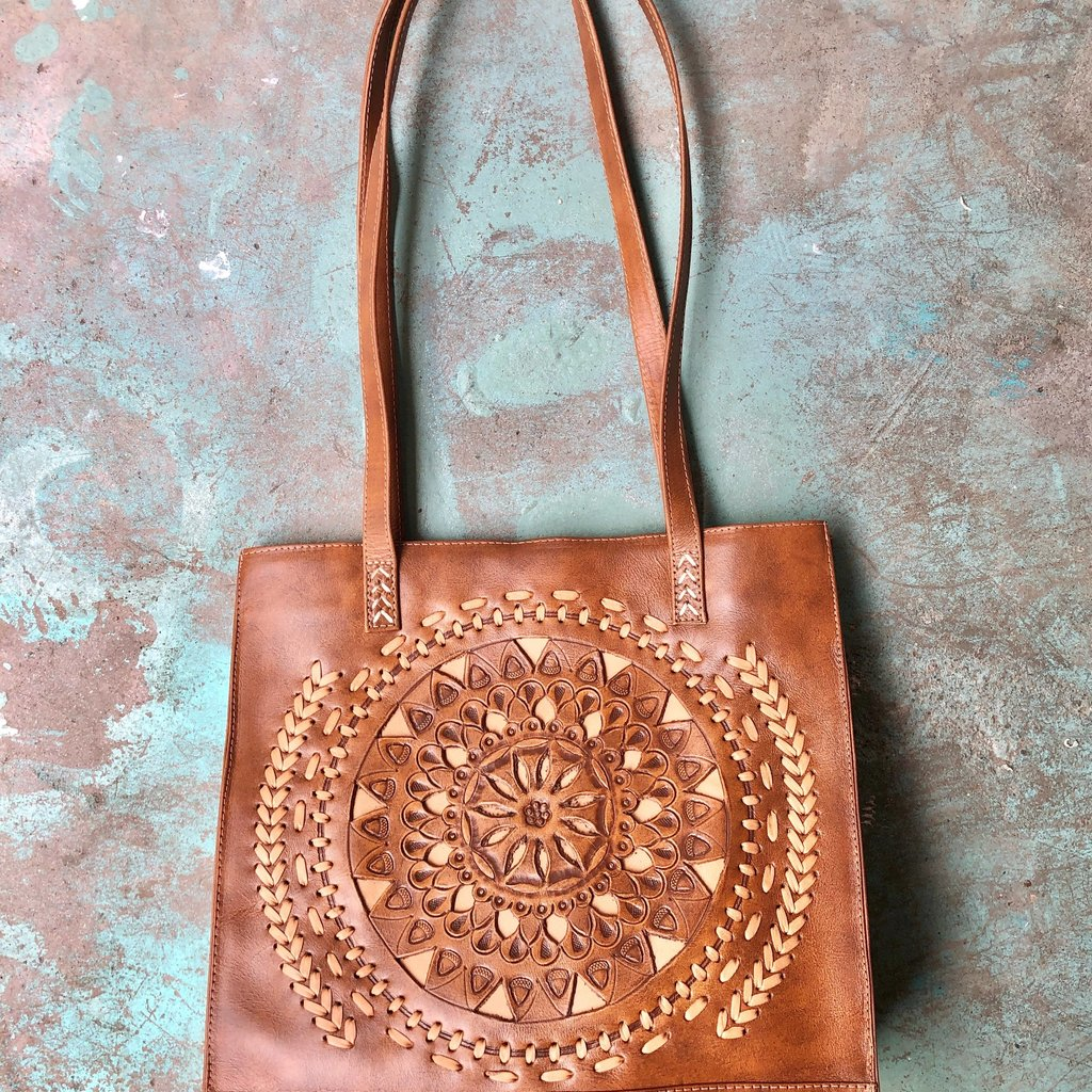 Leaders in Leather   Mandala Cutout Leather Handmade Tote   Natural
