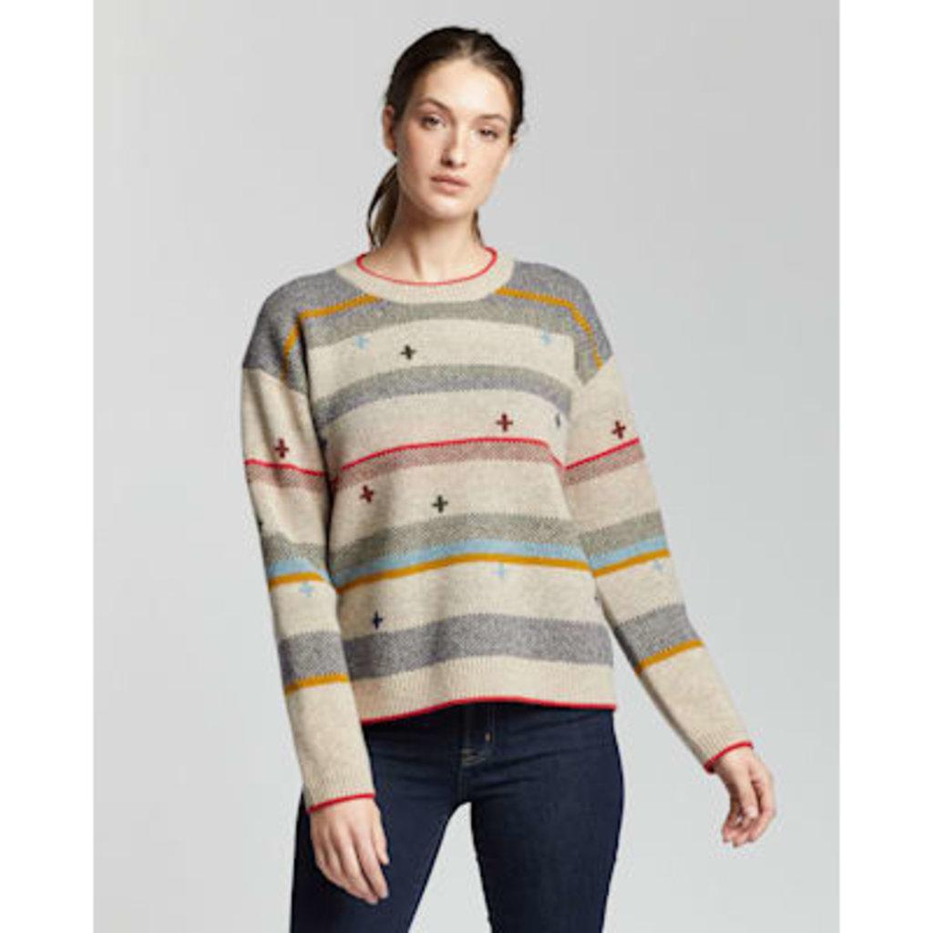 Pendleton Bridger Stripe Sweater   Tan Heather Stripe