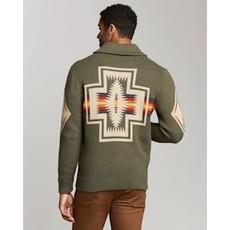 Pendleton Cotton Jacquard Shawl Sweater | Harding | Green