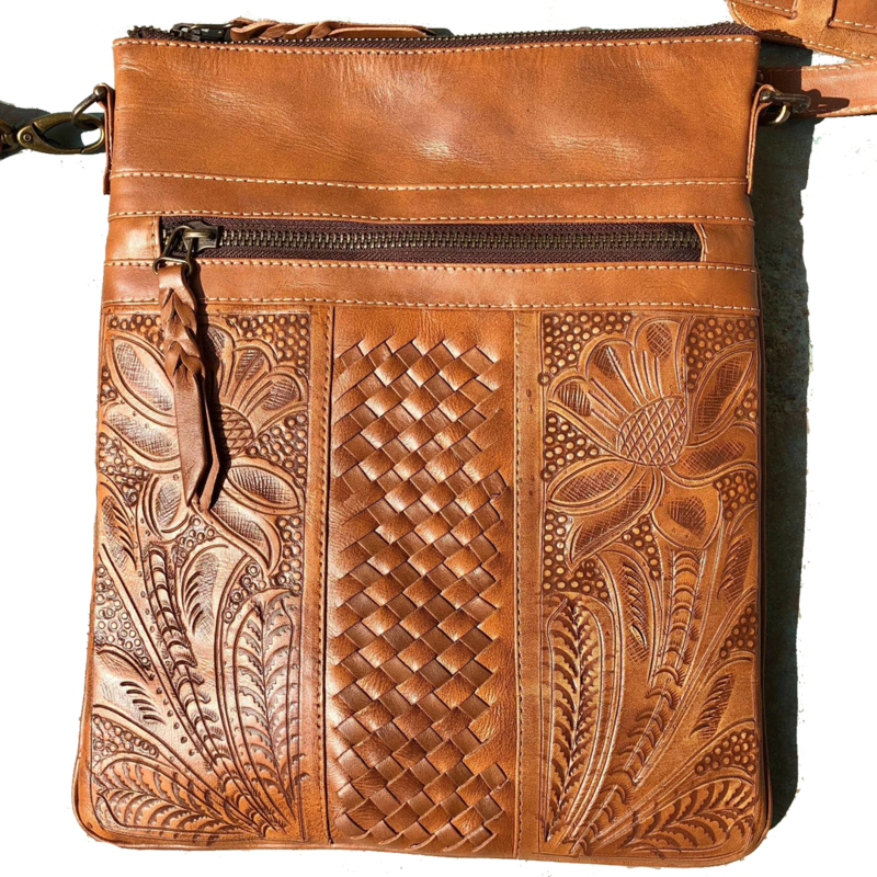 Woven Handtooled Leather Crossbody | Natural