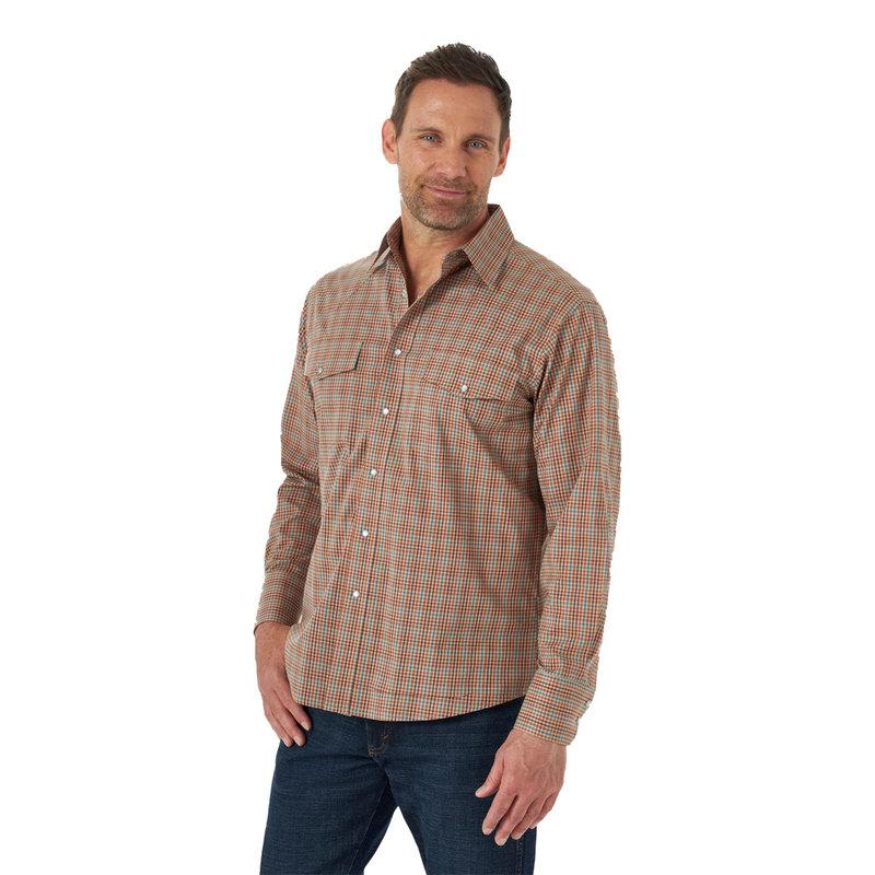 Wrinkle Resist LS Shirt Relaxed Fit   Khaki Plaid