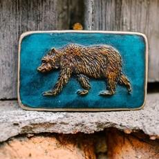 Waterhorse Bronze Designs Waterhorse Bronze   Bear Turquoise Rectangle Belt Buckle