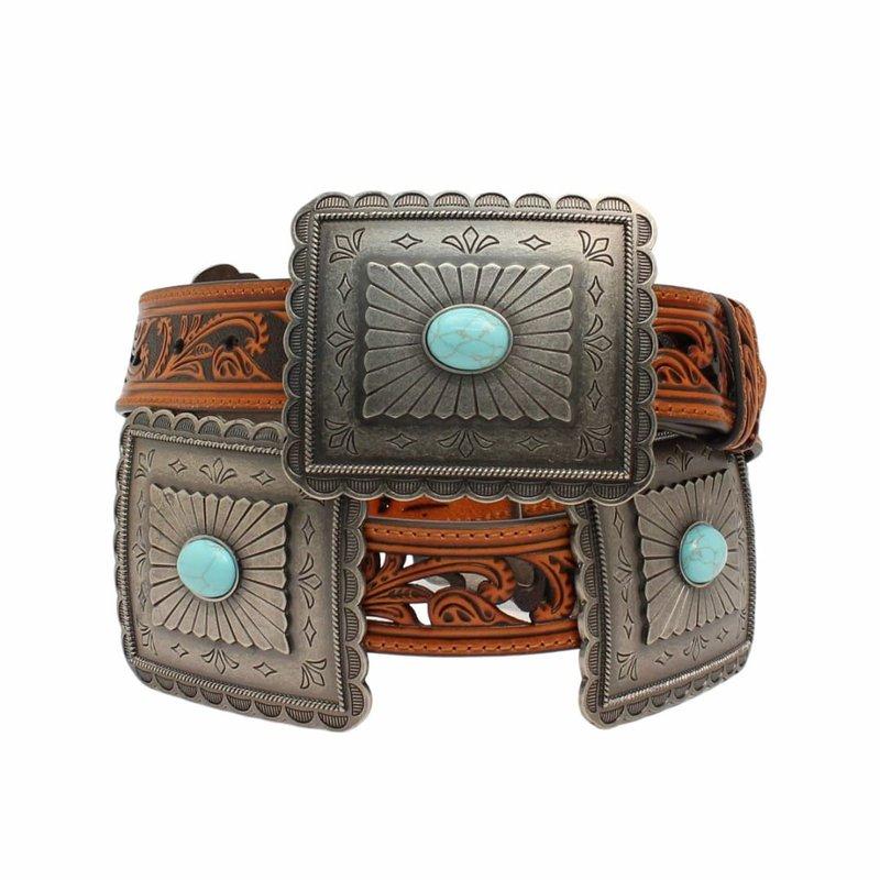 Rectangle Concho Turquoise Belt