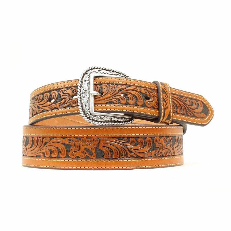 Men's Western Floral Embossed Belt