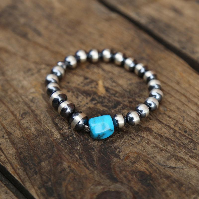 Sterling Pearl Stretch Bracelet