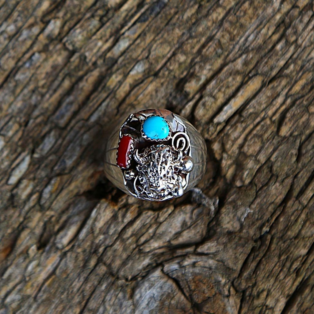 Sterling | Bison Ring with Turquoise, Coral | Size 12 1/2