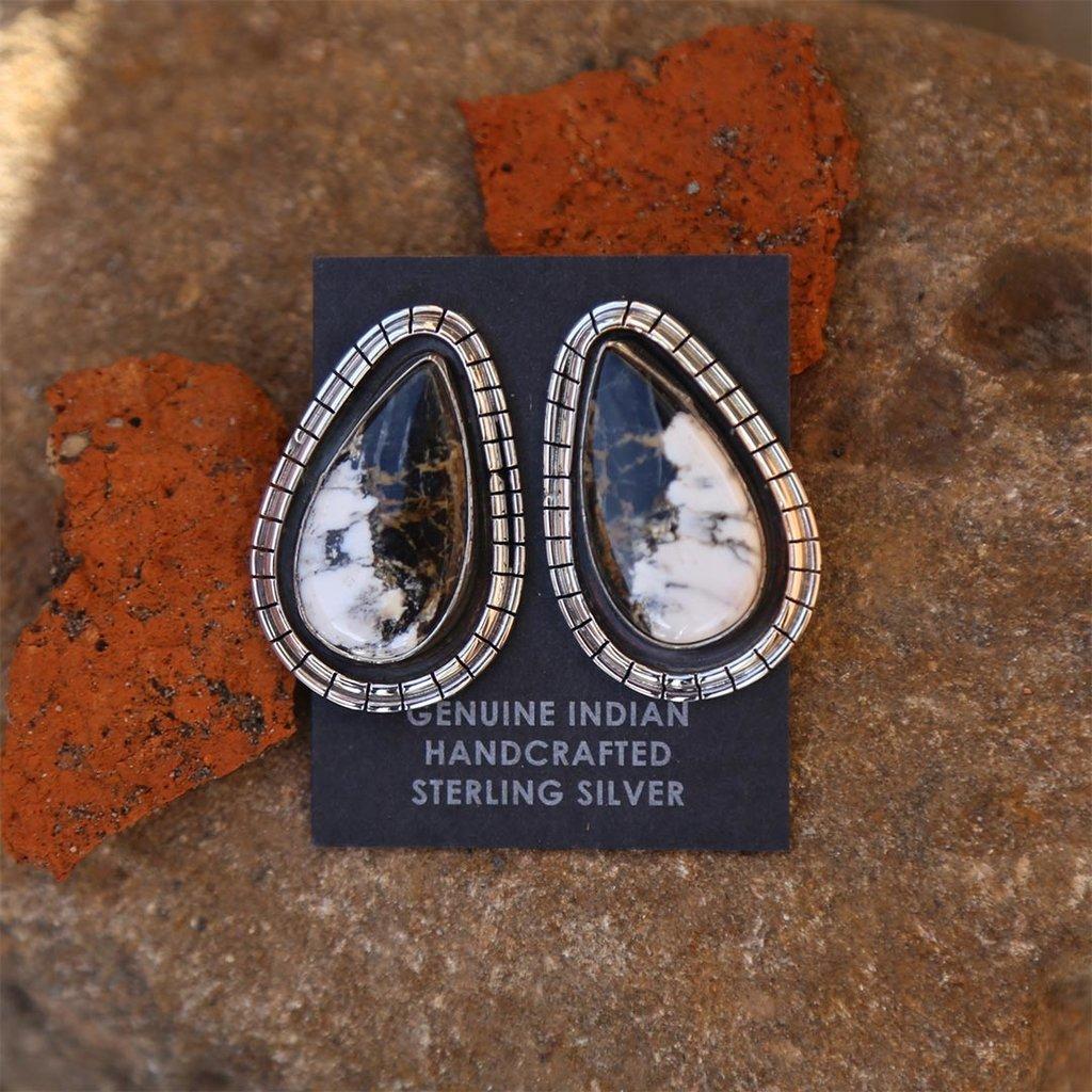 Sterling   White Buffalo Earrings