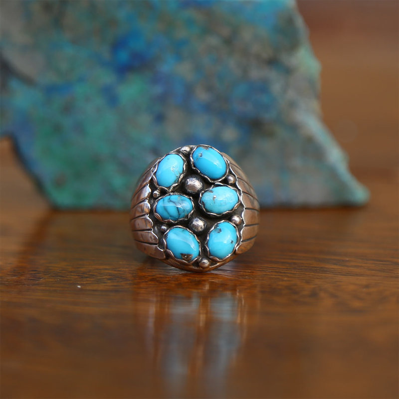 Sterling   Turquoise Ring   Size 10 1/2