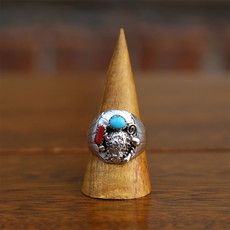 Sterling   Bison Silver Ring   Turquoise + Coral   Size 12