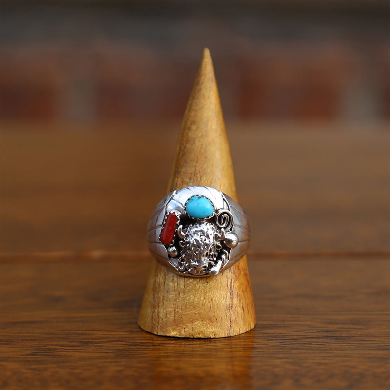 Sterling | Bison Silver Ring | Turquoise + Coral | Size 12