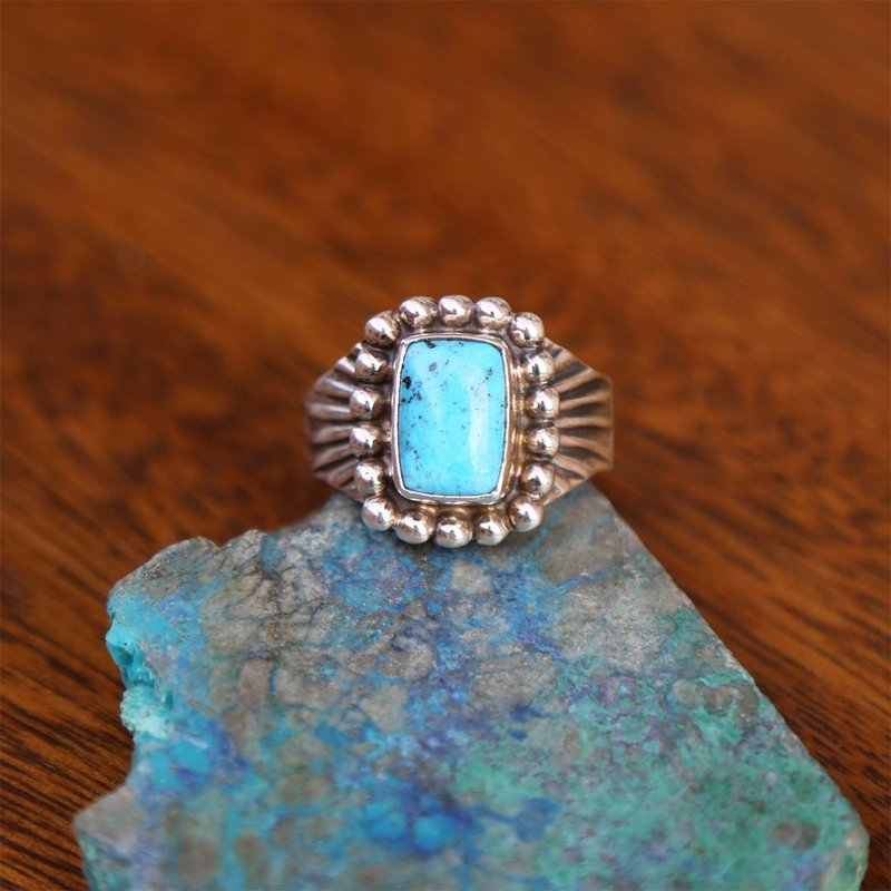 Sterling   Turquoise Ring   Size 14 1/2