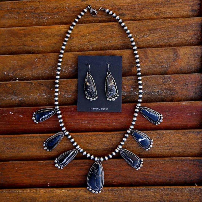 Sterling | Black Buffalo | Navajo Pearl Necklace + Earrings