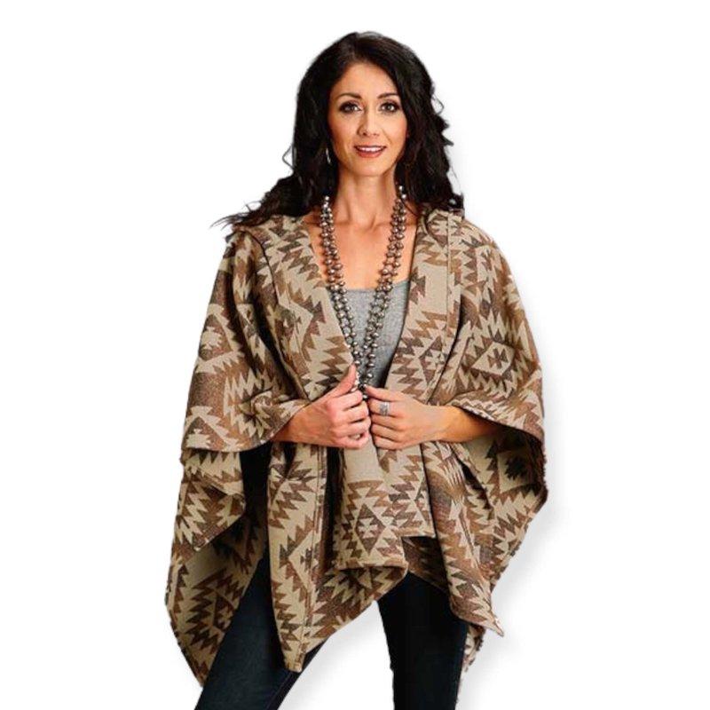 Aztec Blanket Wrap   Brown