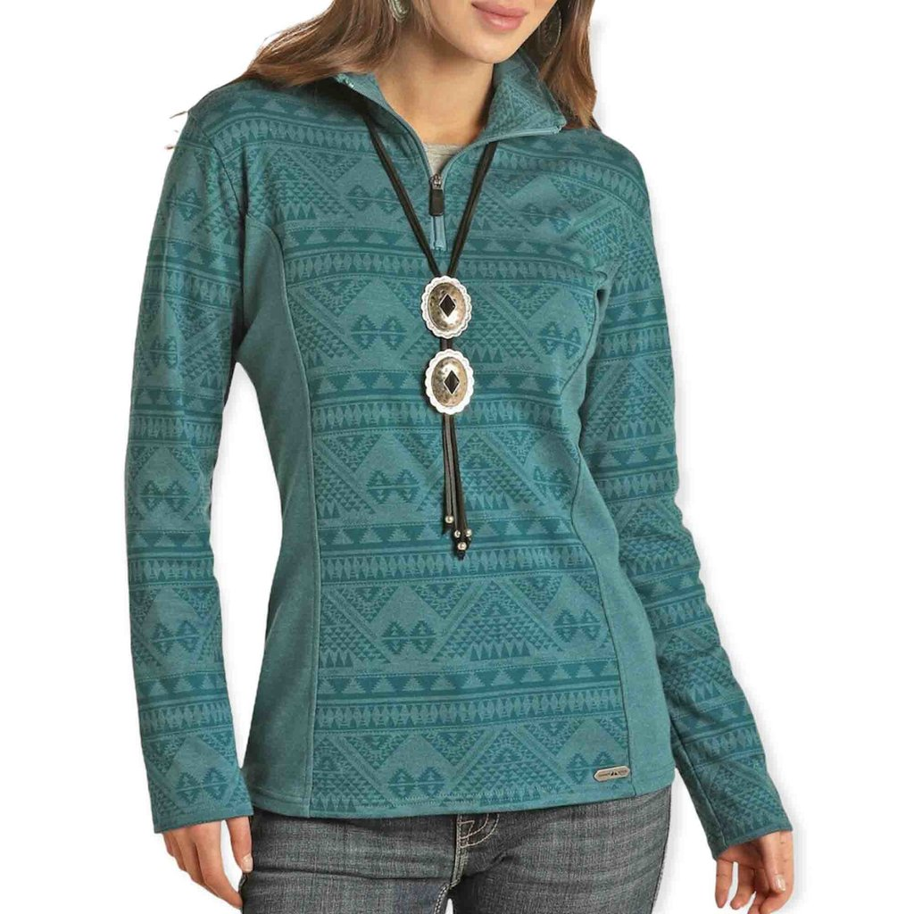 Powder River Outfitters | Aztec Knit Henley | Teal